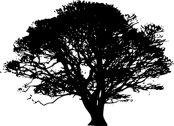 Tree Silhouettes clip art Free vector in Open office drawing.