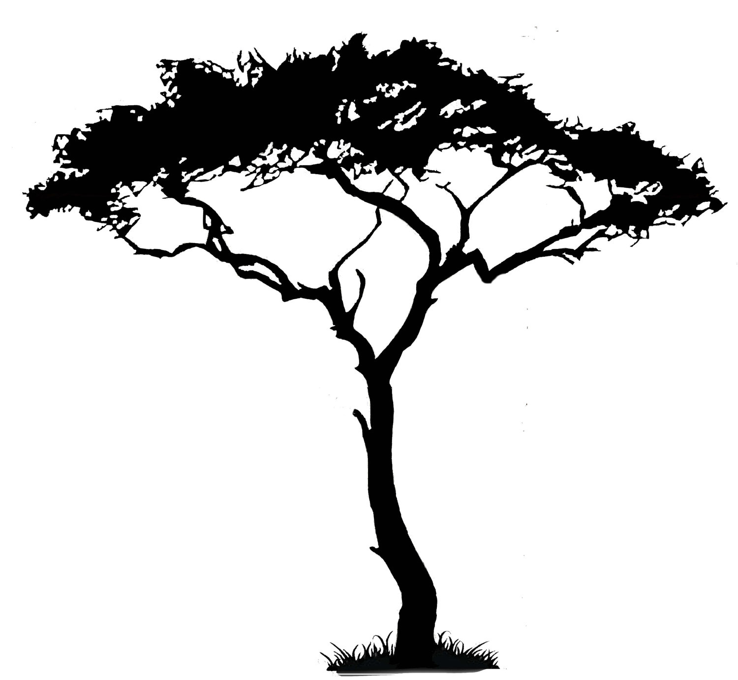 simple tree silhouette clear background clipart open ...