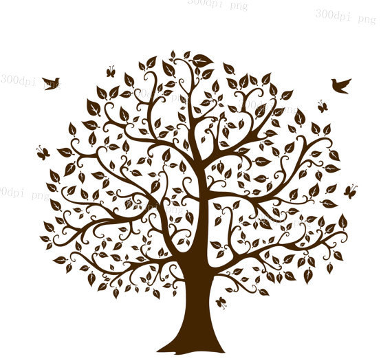 Tree silhouette digital clipart vector eps png files Clip Art.