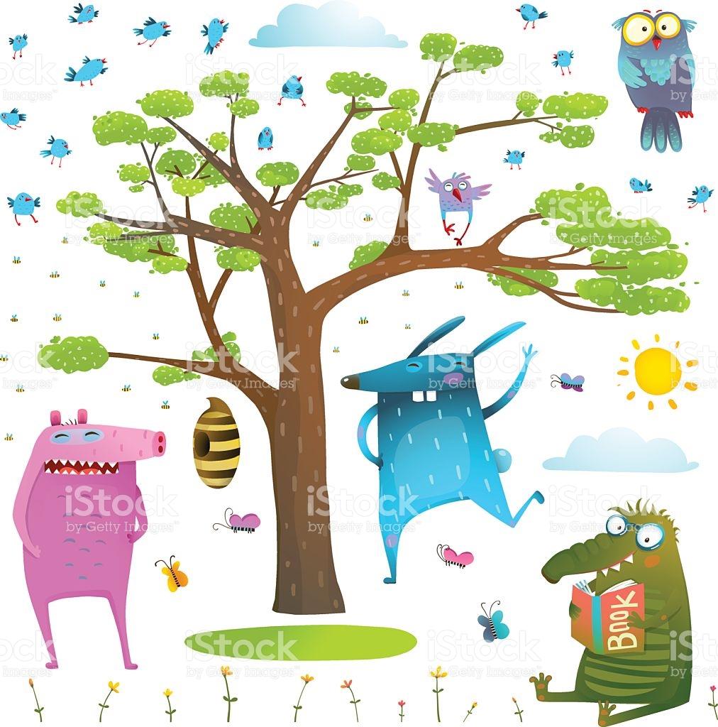 Animals Tree Sky Sun And Birds Clip Art Collection stock vector.