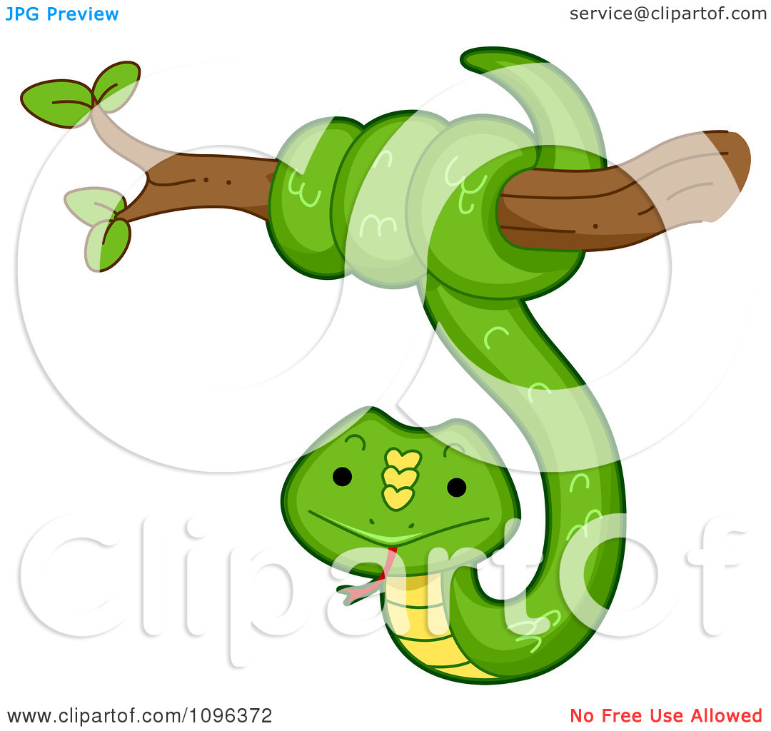 Clipart Happy Green Snake Coiled Around A Tree Branch.