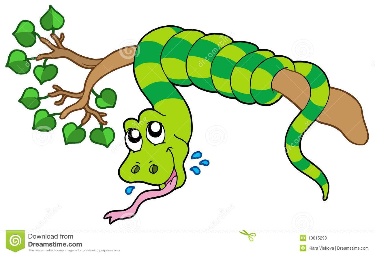Clipart tree with snake.