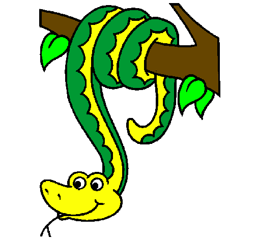 Snake hanging from tree clipart.
