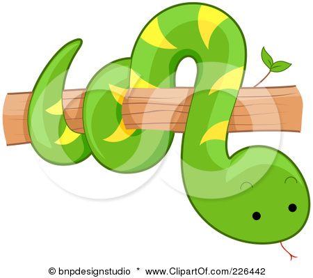 Snake on tree clipart black and white.