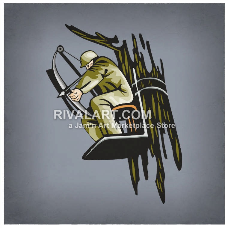 Bow Hunter Hunting Cross Arrow Tree Stand Color Man Graphic.