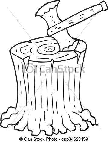 black and white cartoon axe in tree stump.