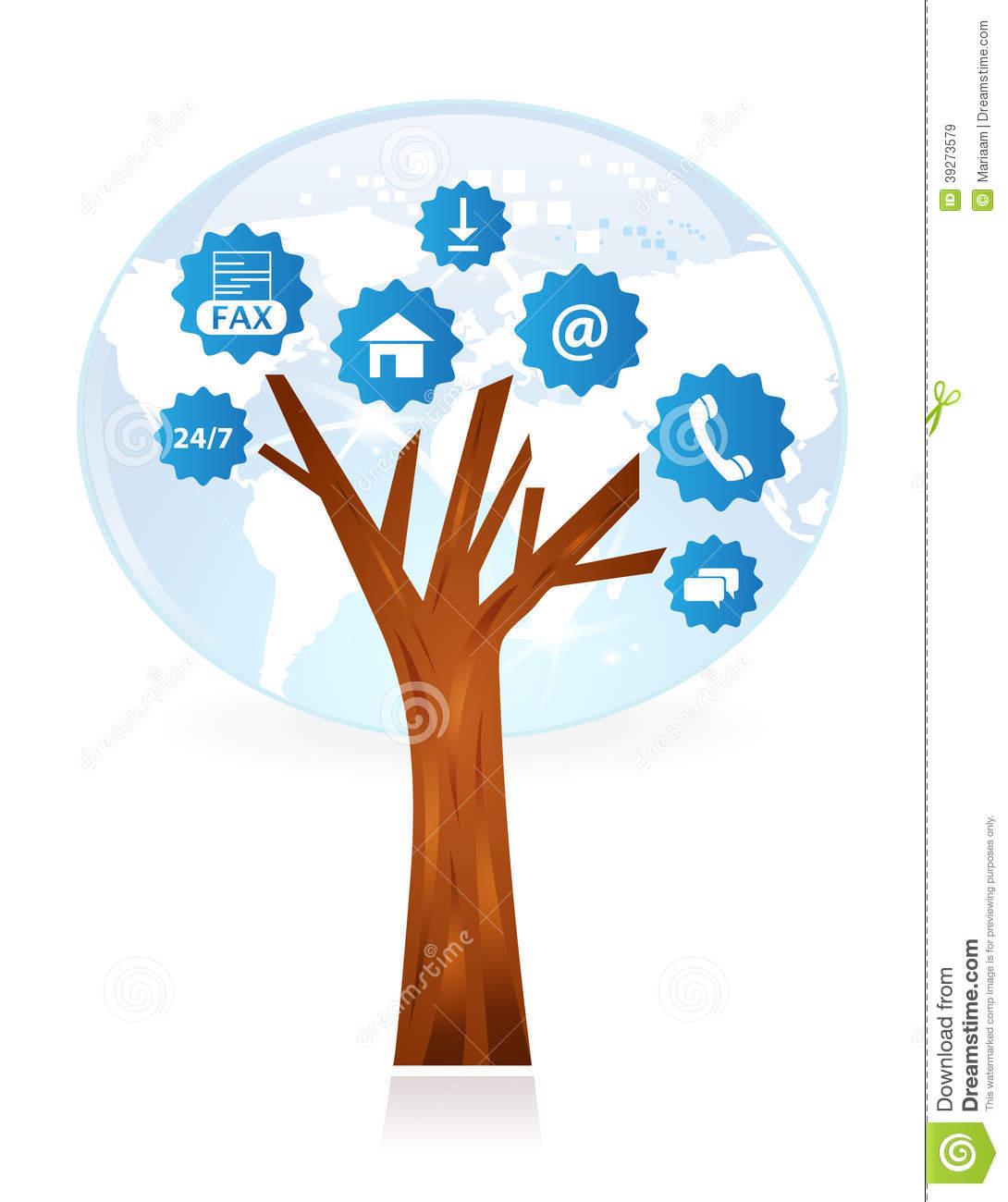 Customer Support Tree Stock Illustration.