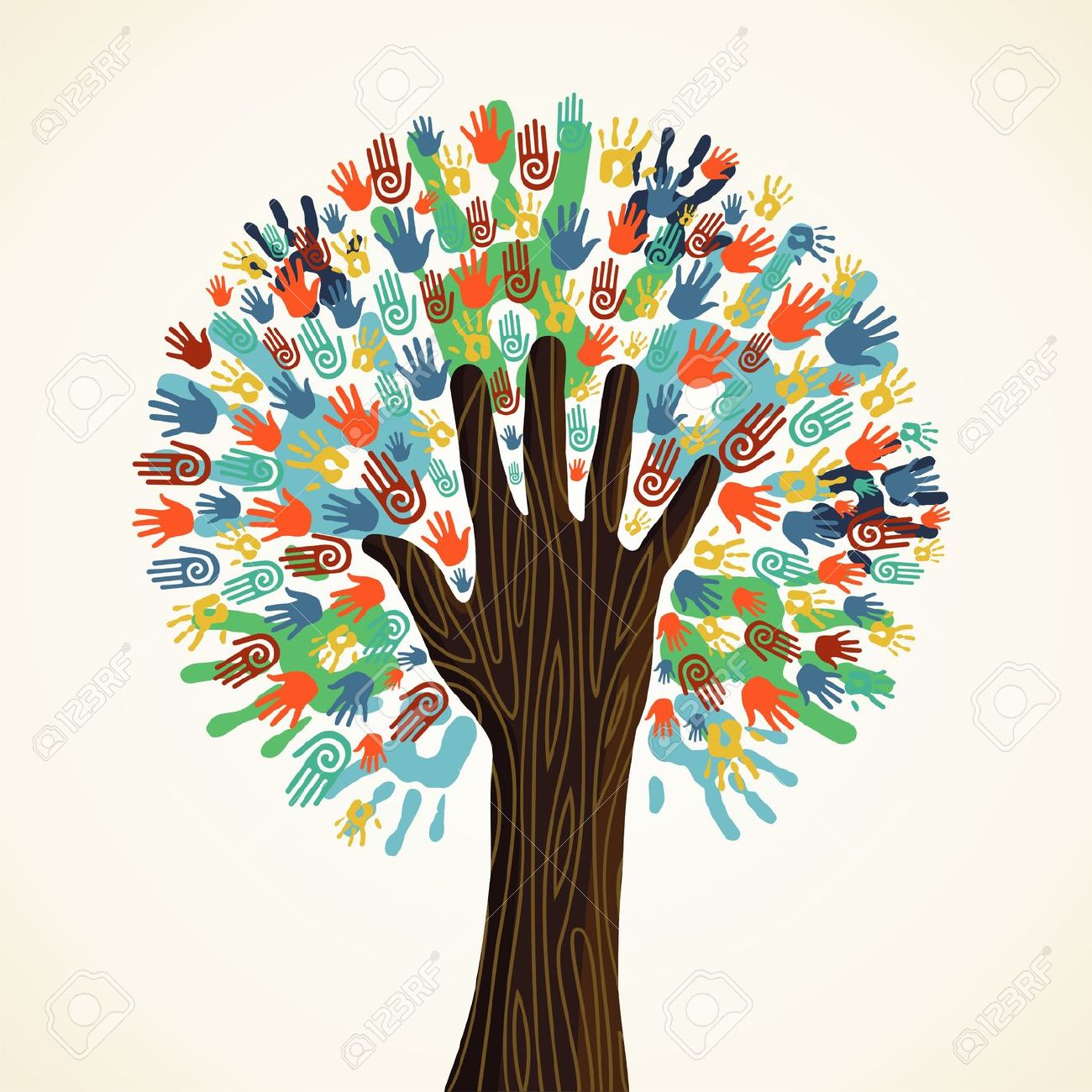 Tree and hands clipart.
