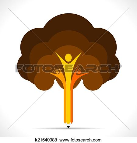 Clip Art of colorful hand pencil tree support k21640968.
