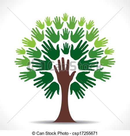 Vectors Illustration of green hand tree vector.