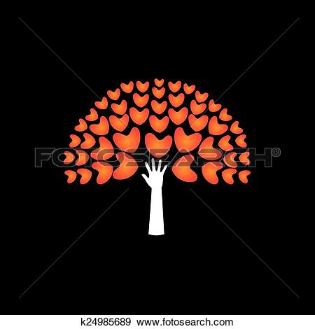 Clip Art of tree of love hearts and hand in support.
