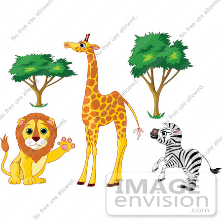 Tree Supporting Animal Clipart.