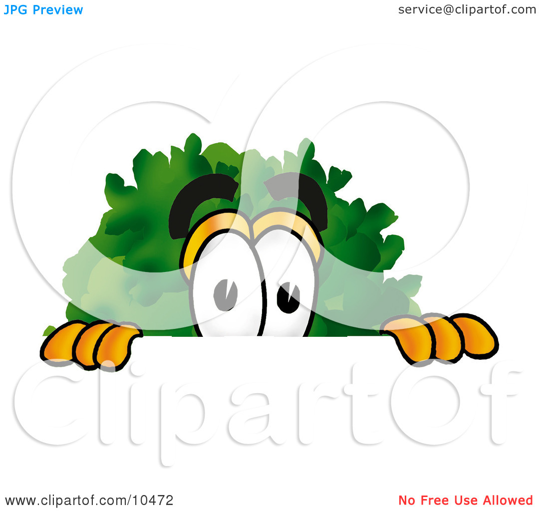 Clipart Picture of a Tree Mascot Cartoon Character Peeking Over a.