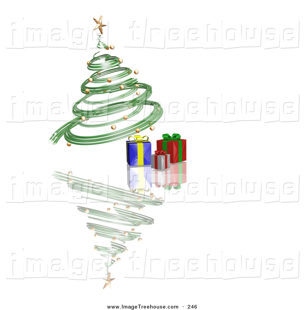 Clipart of a Green Spiraling Christmas Tree with Gold Ornaments.
