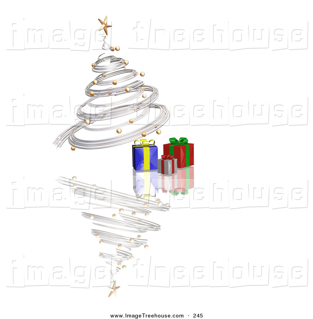 Clipart of a Silver Spiraling Christmas Tree with Gold Ornaments.