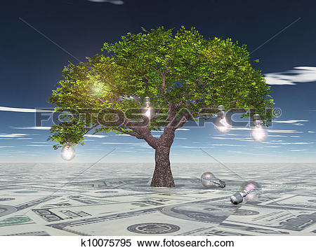 Stock Illustration of Tree with light bulbs grows out of US.