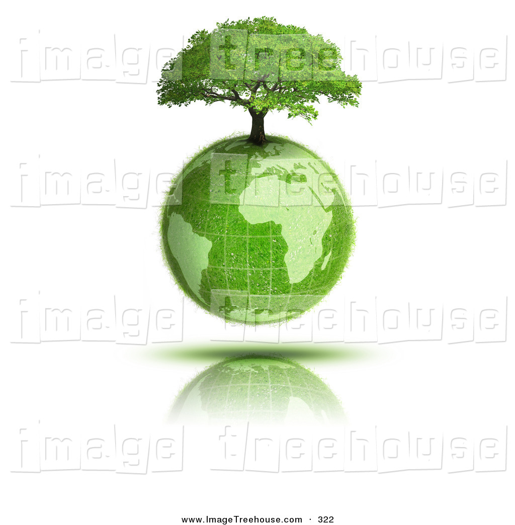Clipart of a Leafy Tree Growing on Top of the Grassy Earth Earth.