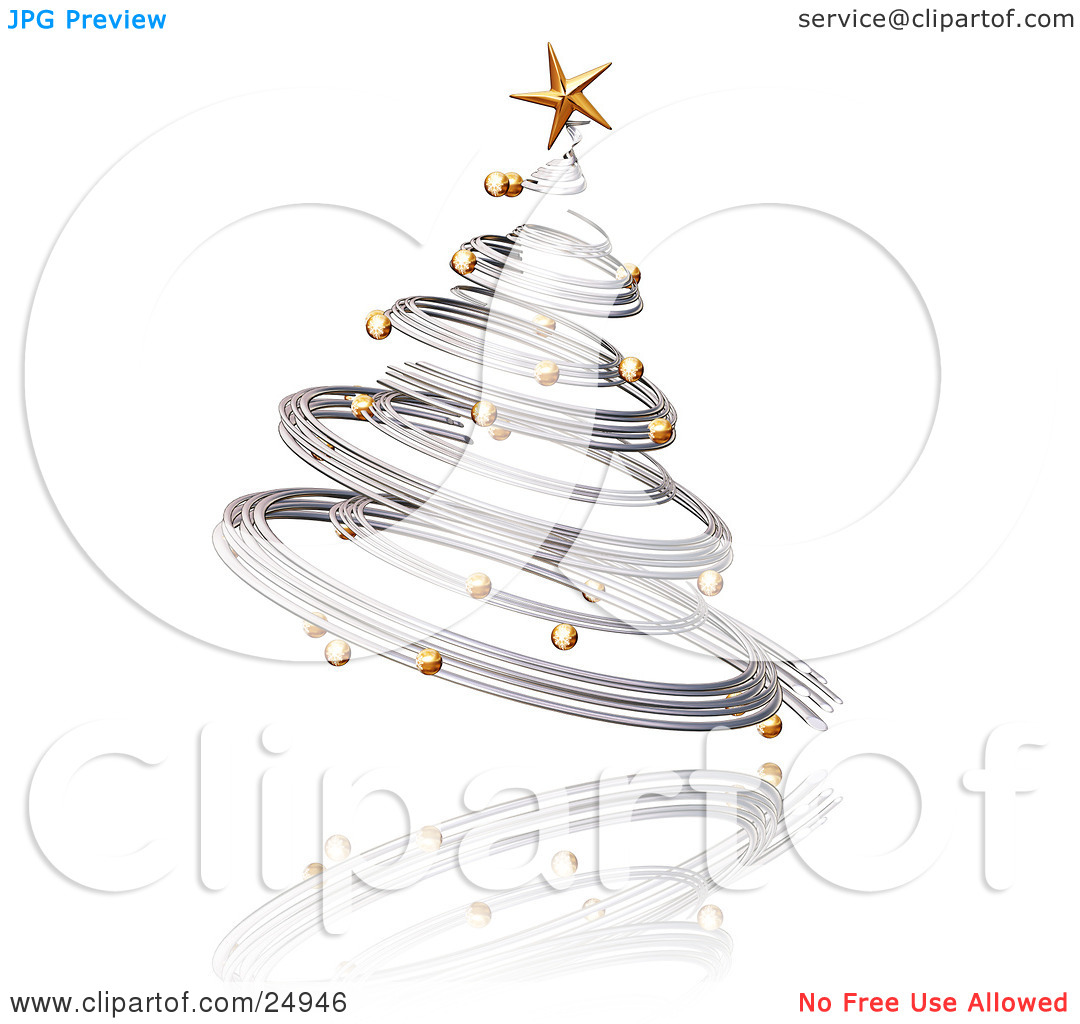 Clipart Illustration of a Silver Spiraled Christmas Tree With Gold.