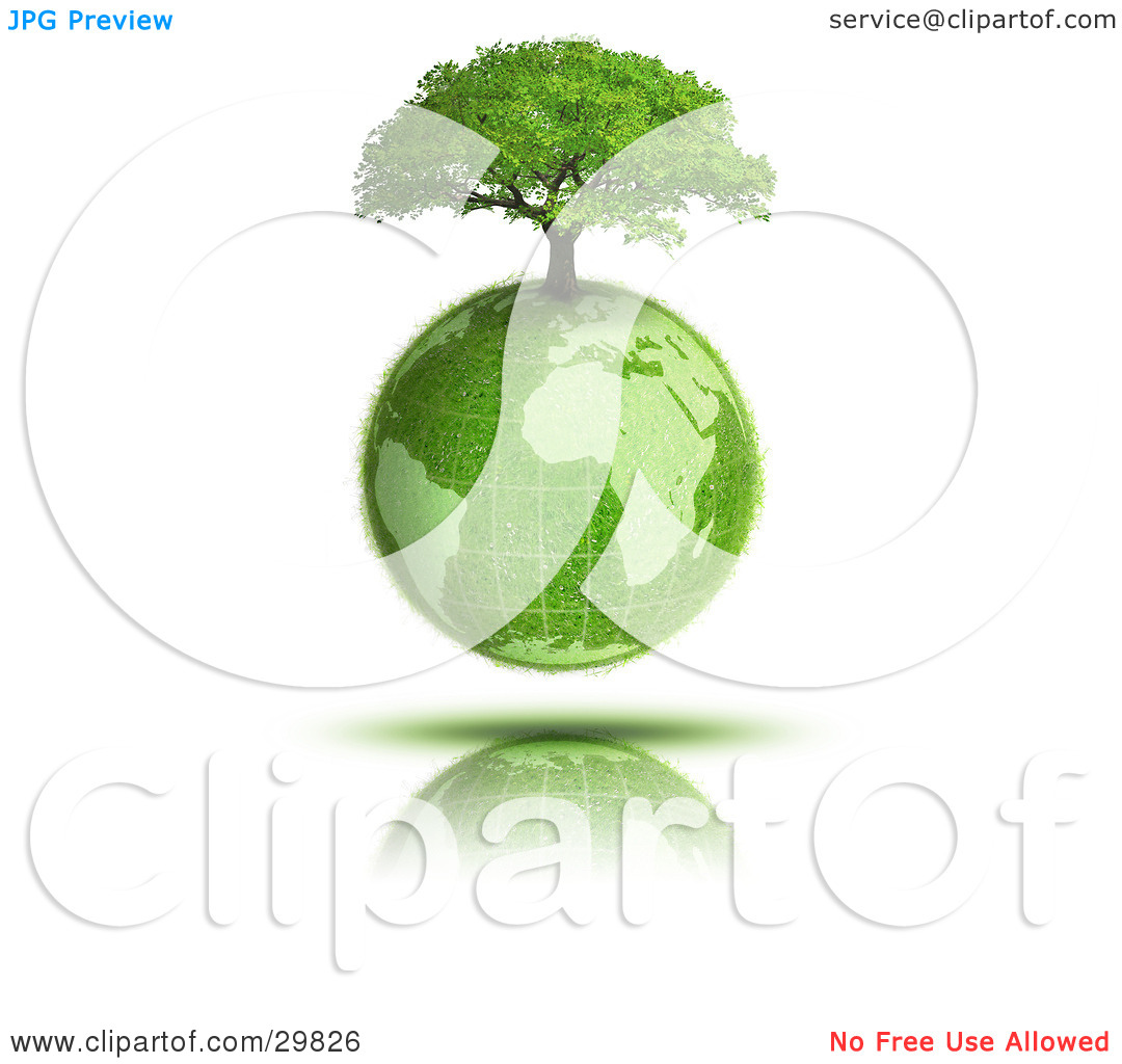 Clipart Illustration of a Tree Growing On Top Of The Grassy Earth.