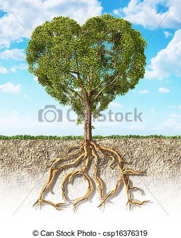 Clipart of Cross section of soil showing a tree heart shaped, with.