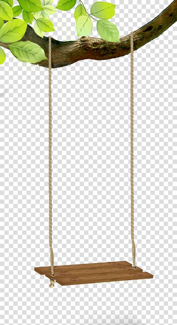 Brown rope swing hanged on tree , Swing Designer Creativity.