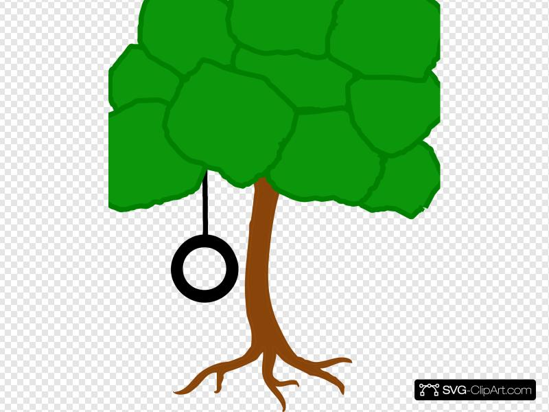 Tree Solid Color With Tire Swing Clip art, Icon and SVG.
