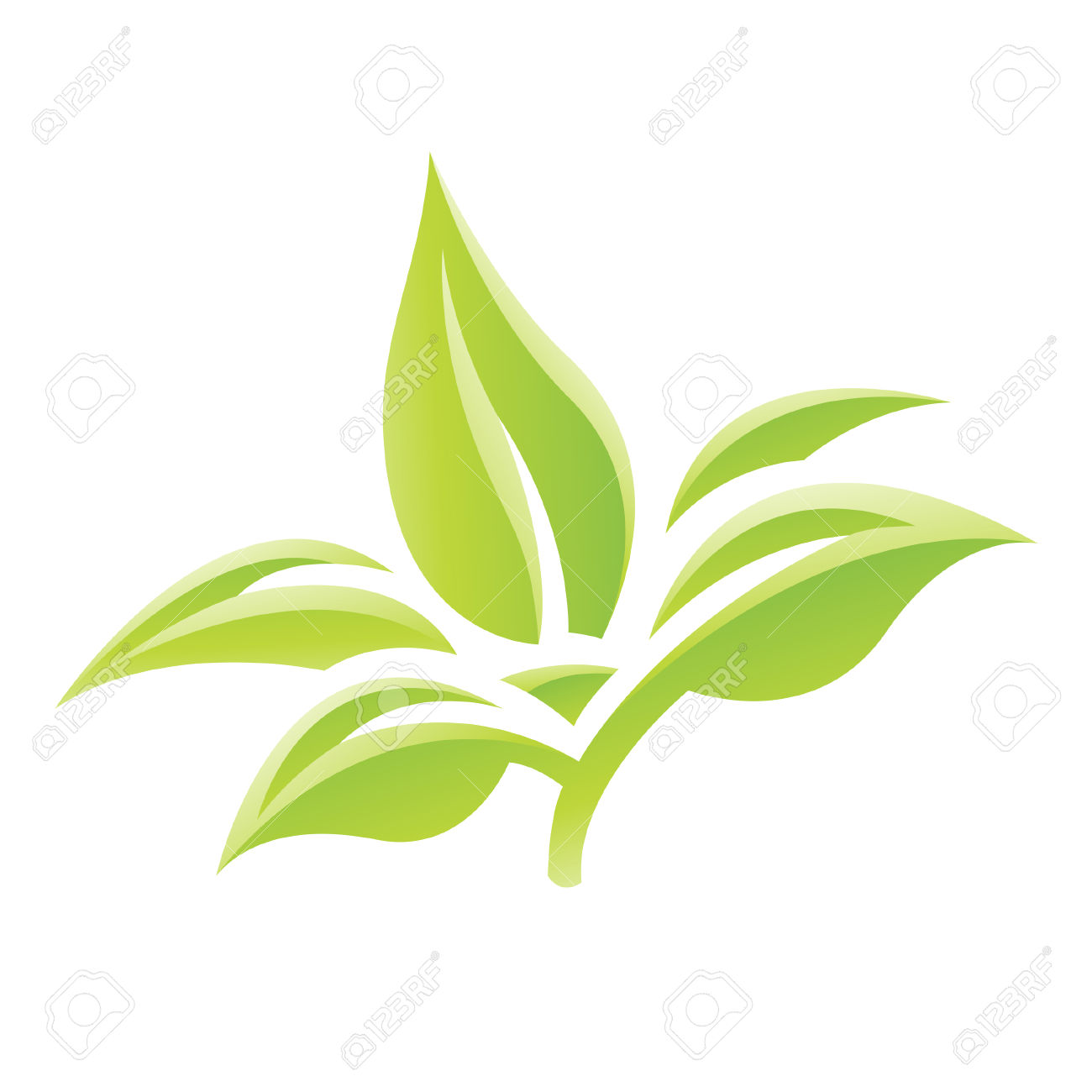 Illustration Of Green Glossy Leaves Icon Isolated On A White.