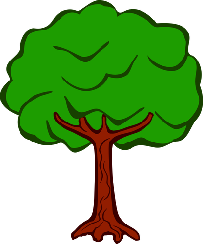 Silhouette vector clip art of open tree top.