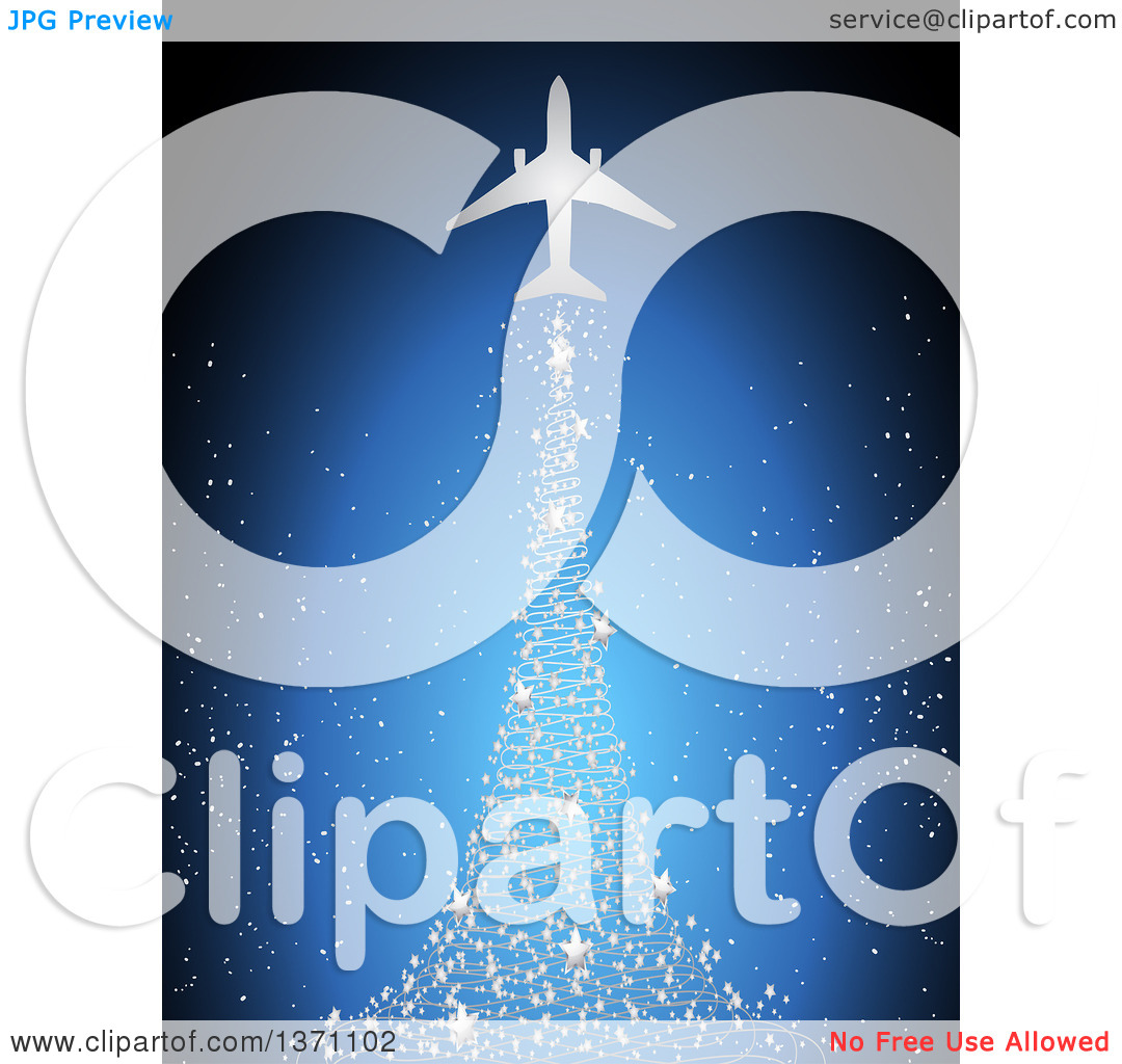 Clipart of a Silhouetted Airplane with a Magical Silver Star.