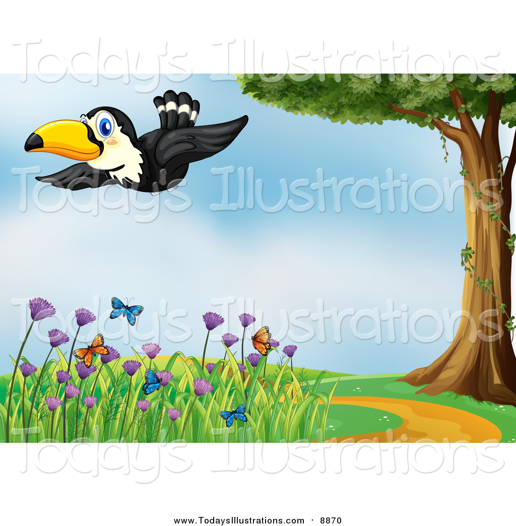 Clipart of a Toucan Bird Flying over a Trail, Tree and Butterflies.