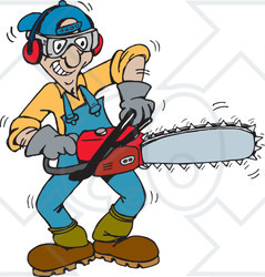 Clipart Illustration of a Tree Trimmer Starting Up His.