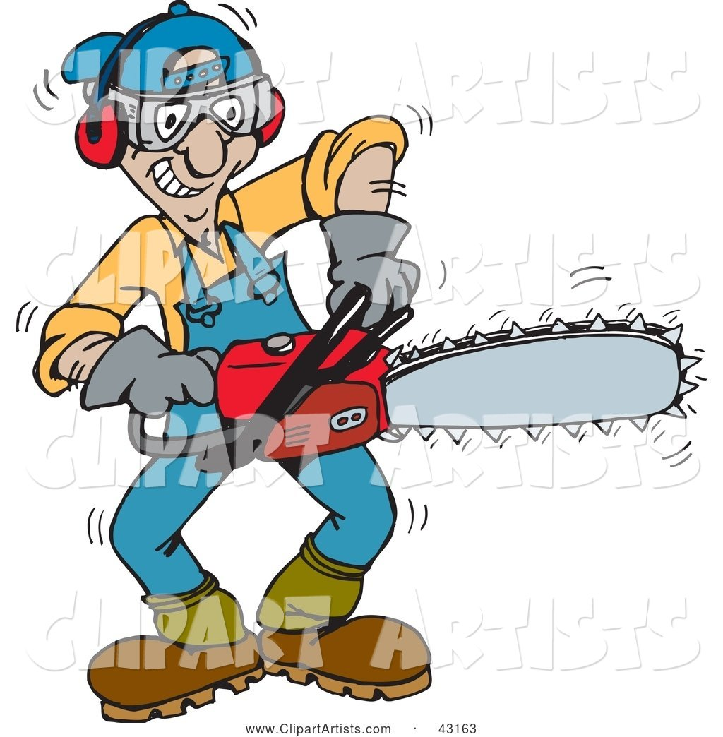 Tree Trimmer Starting Up His Chainsaw Clipart by Dennis.