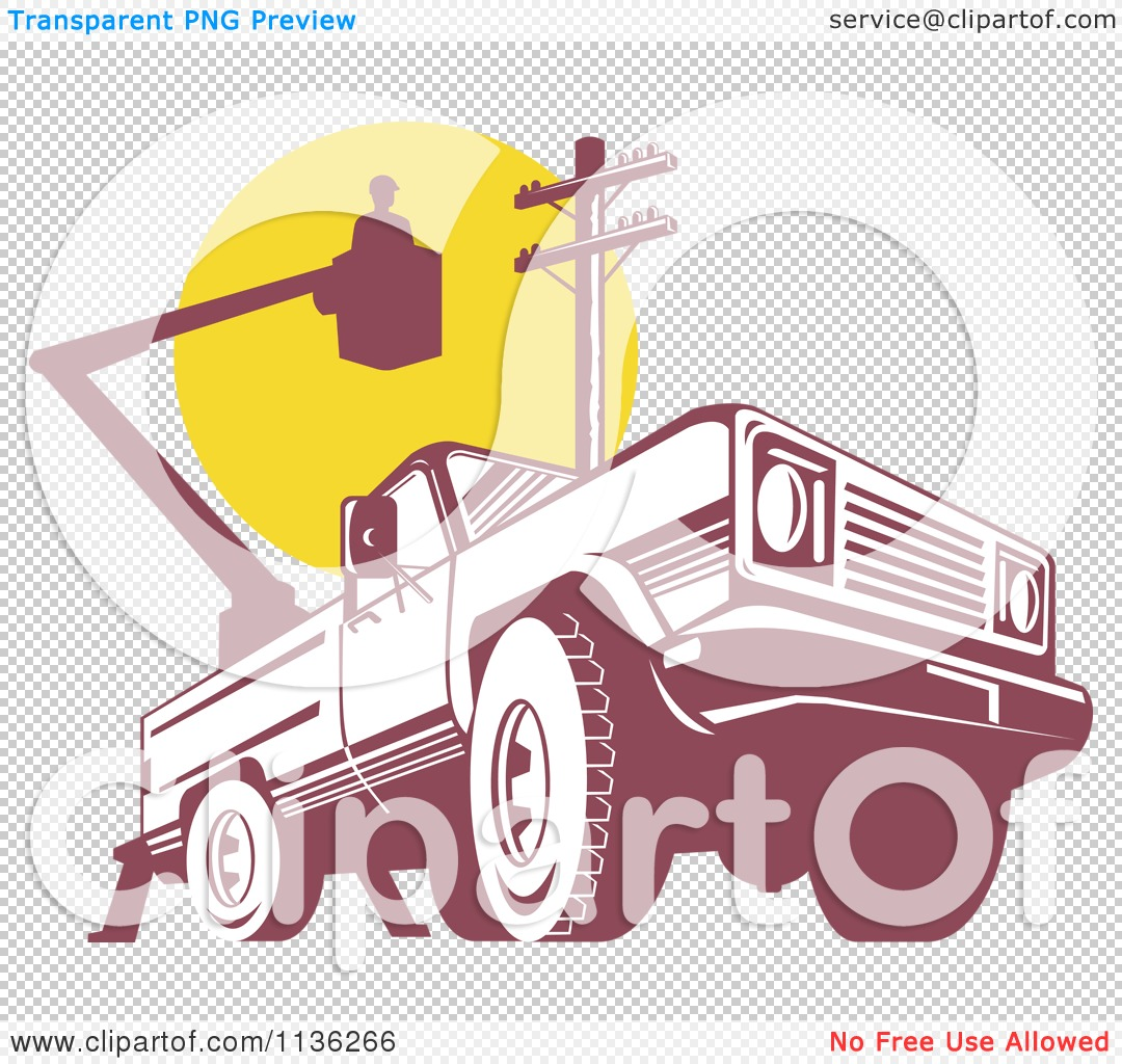Clipart Of A Retro Bucket Truck With An Electrican And Pole.