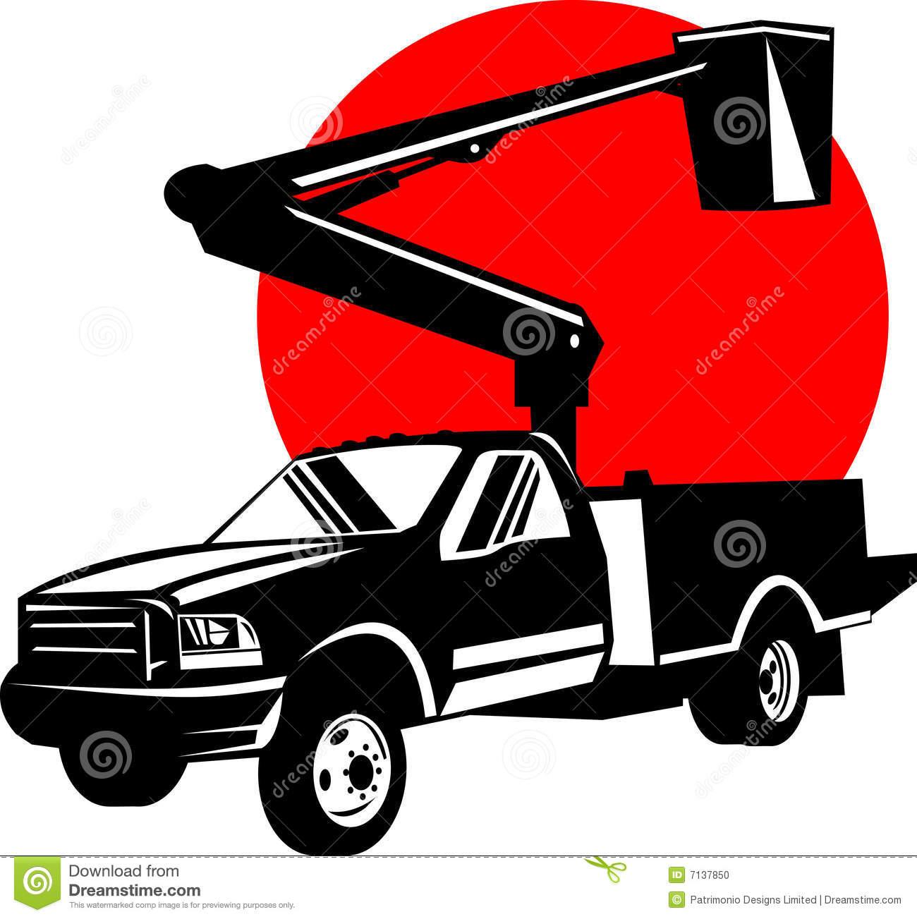 Tree Trimming Bucket Truck Clipart.