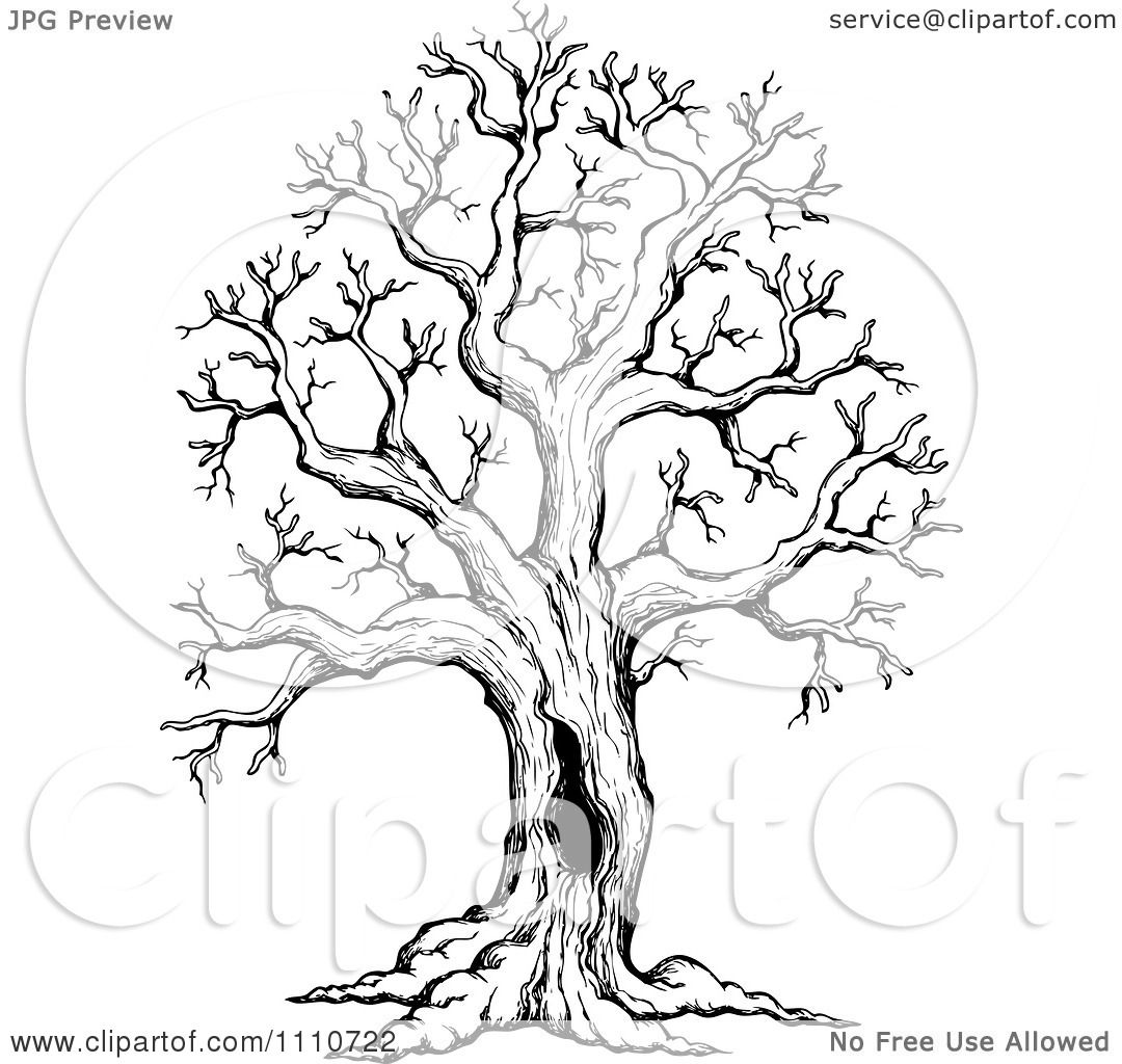 Clipart Black And White Sketched Hollow Bare Tree.