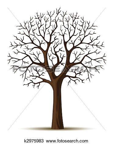 Drawing of silhouette of tree branches cron k2975983.