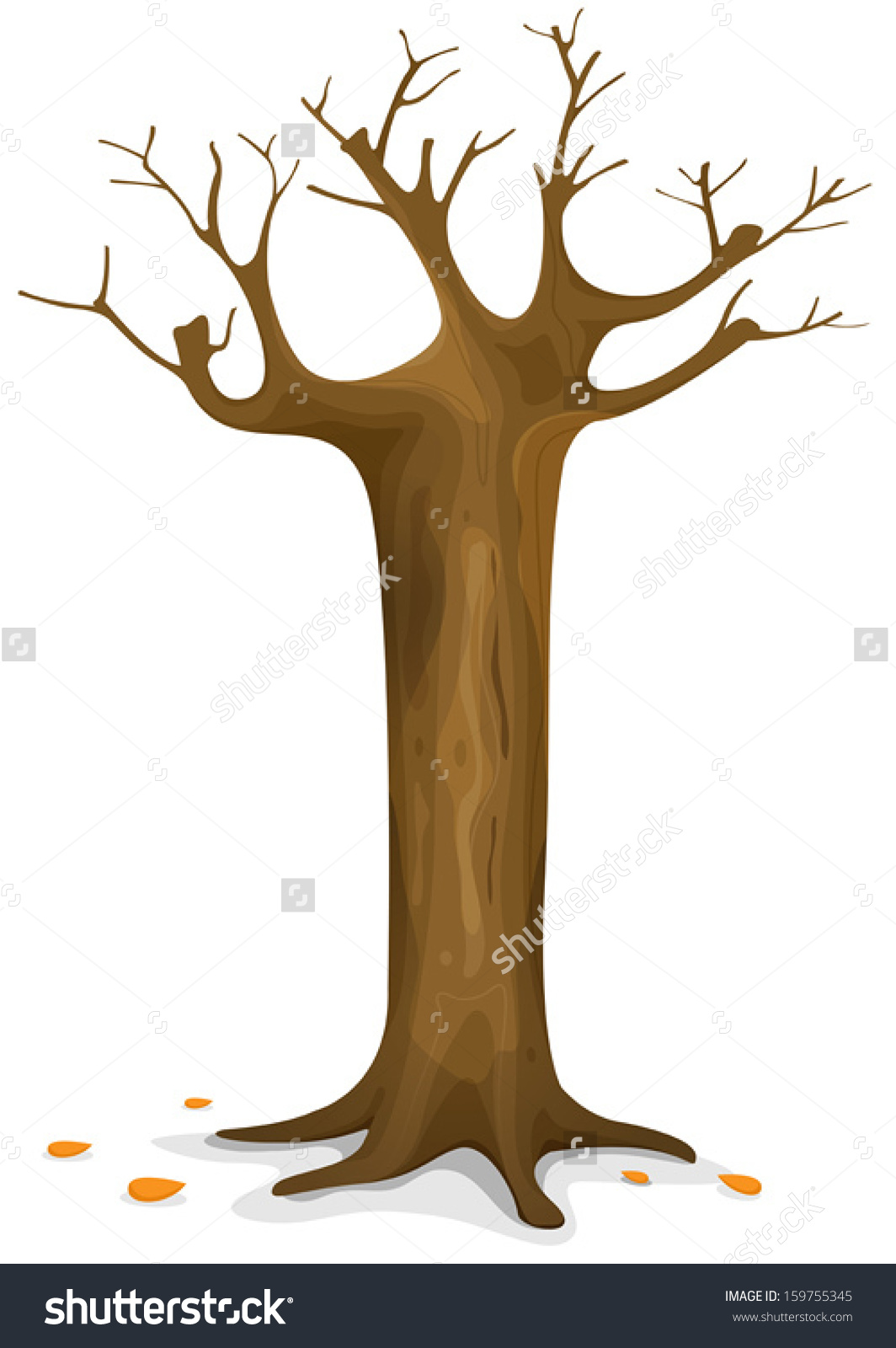 tree with trunk clipart branches #7