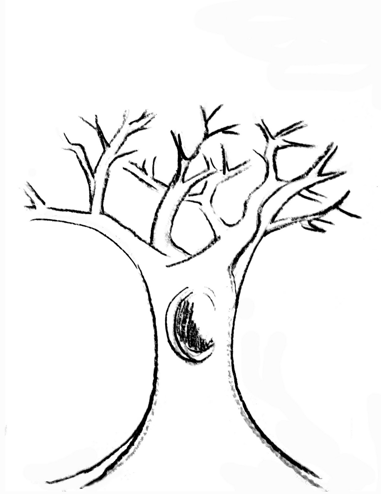 tree trunk with branches clipart