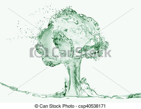Stock Illustrations of Naked Woman Under Water Tree.