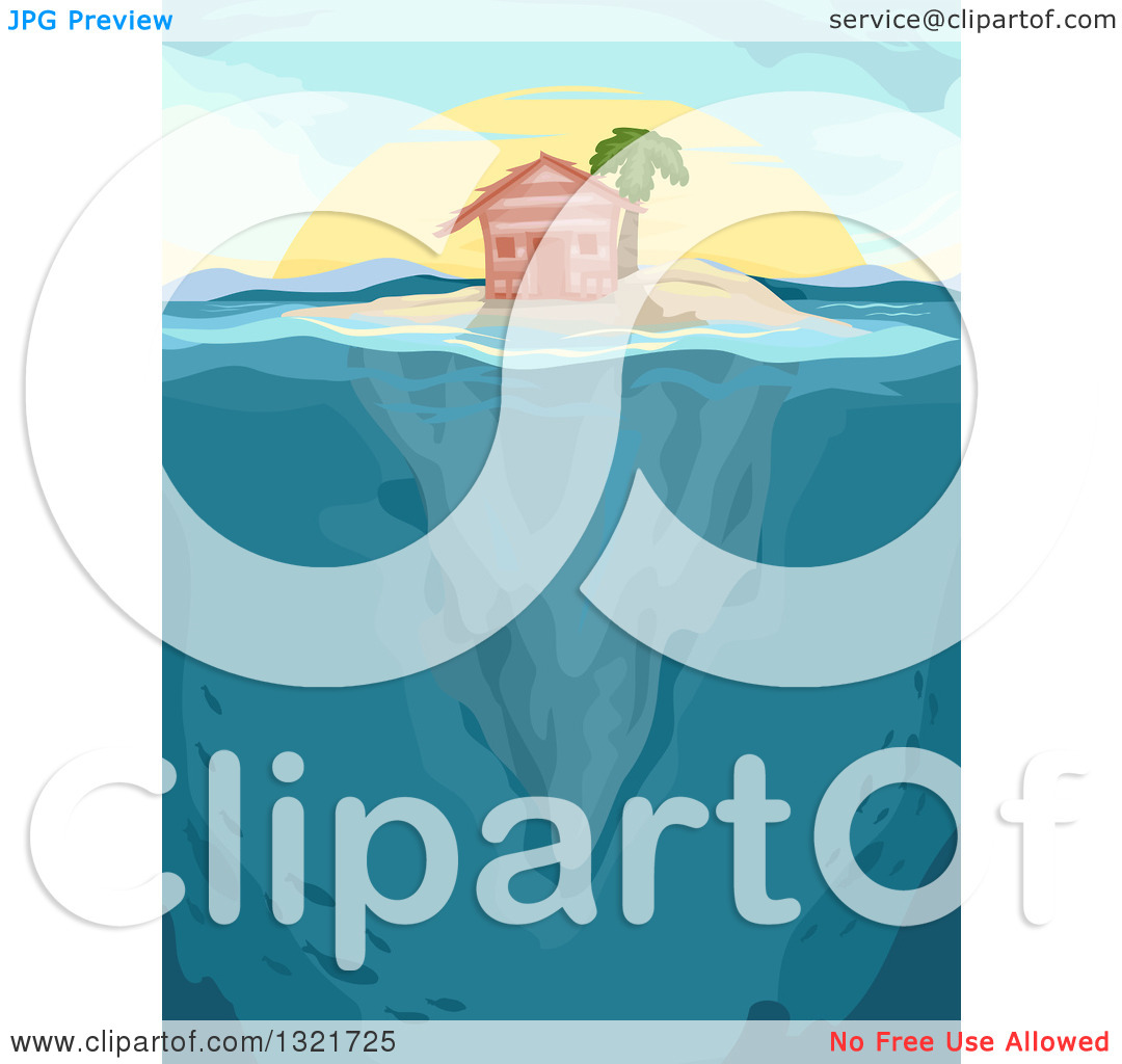 Clipart of a Hut and Palm Tree on an Island, with Underwater Views.