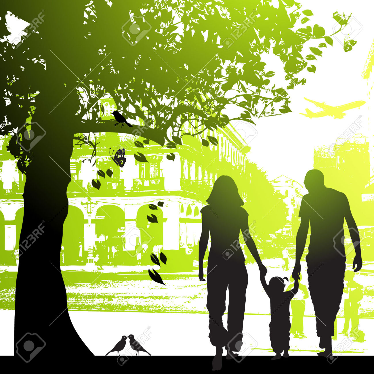 Family Walk In The City Park Royalty Free Cliparts, Vectors, And.