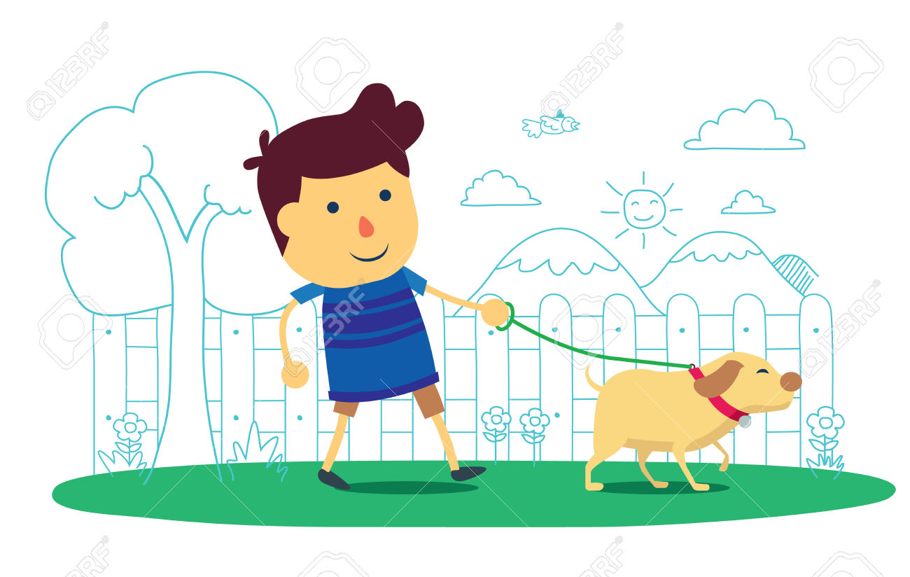 Kids taking the dog for a walk clipart.