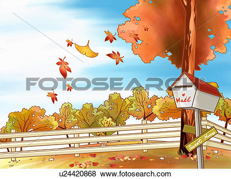 Stock Illustration of autumn color, tree, walk, autumn, mailbox.