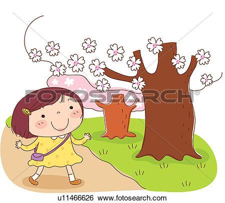 Stock Illustration of grass, walk, bloom, flower, tree, holding.