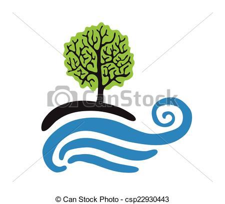 EPS Vector of Tree near the water, vector logo illustration.