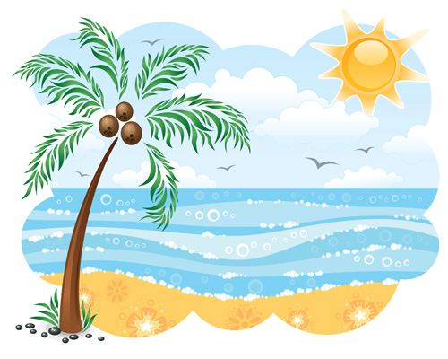 Palm tree by the water clipart black and white.