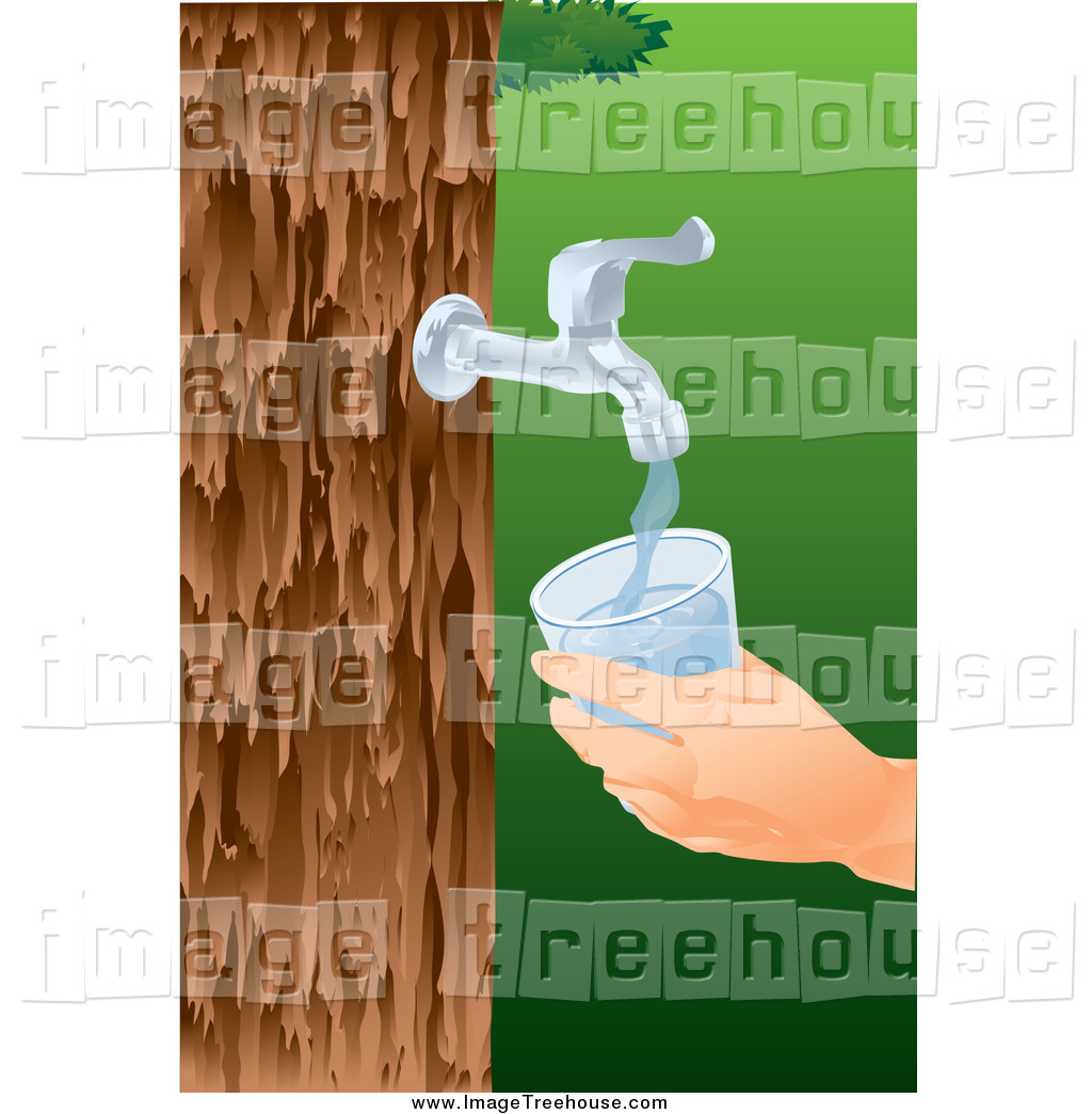 Clipart of a Faucet Tap Pouring Water from a Tree into a Glass by.