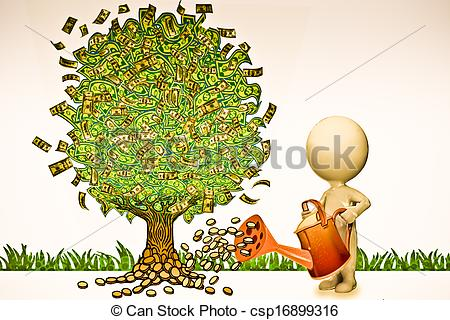 Clipart of Man Watering Tree With Currency.