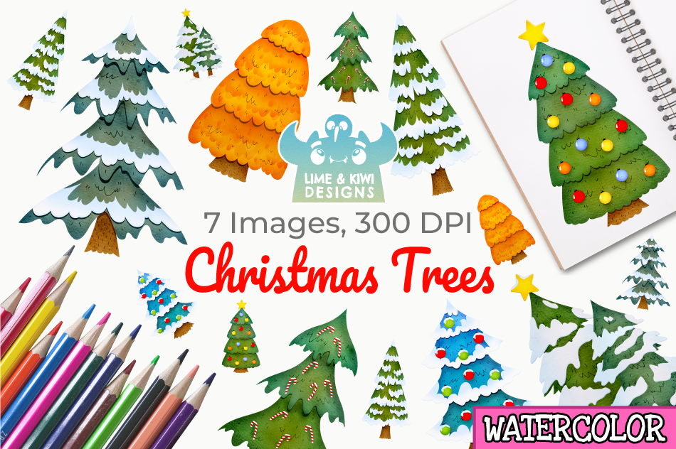 Christmas Trees Watercolor Clipart, Instant Download.