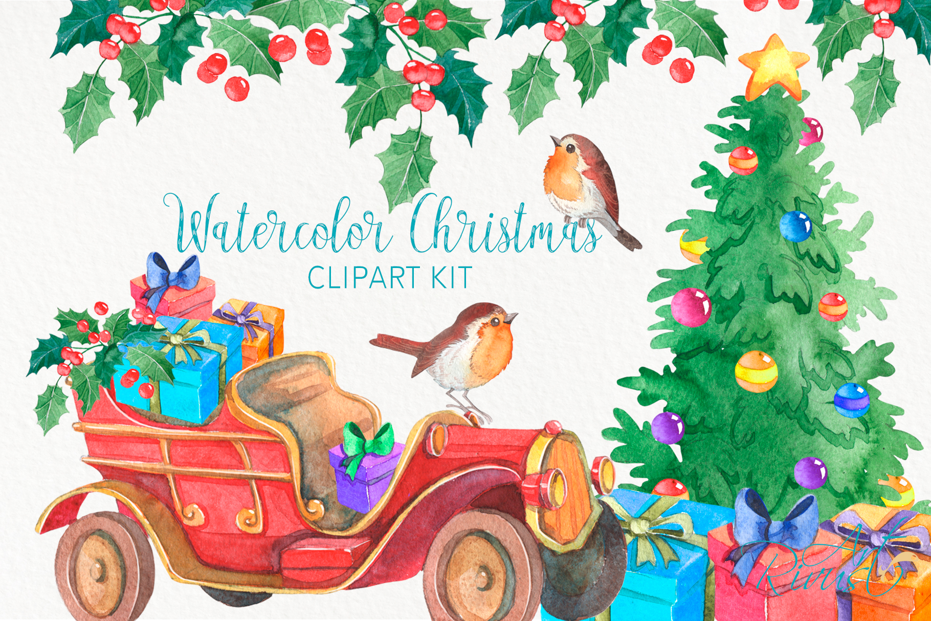 Christmas Truck PNG clipart Merry Christmas Tree Watercolor.